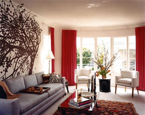 Wall Decor Ideas For Living Room Impressive Of Red Living Room with Curtains Image