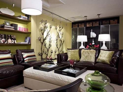 Living room with brown sofas for Dark brown couch living room ideas