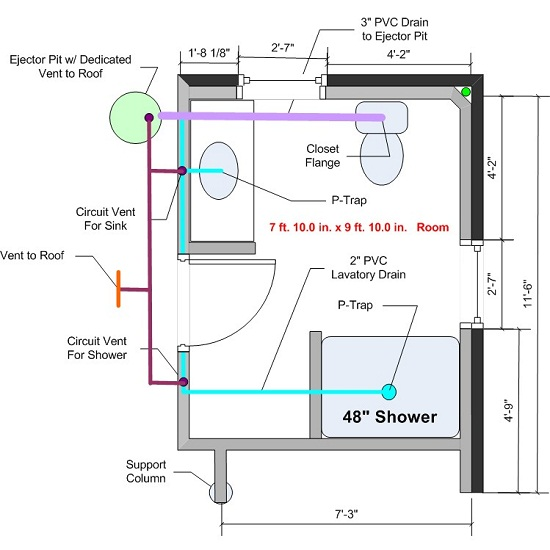 How to plumb a basement bathroom home design tips and guides for Second floor bathroom plumbing diagram