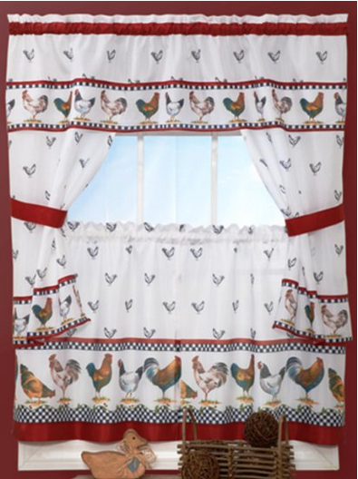 White Kitchen Curtain Swags Picking Rooster Curtains for Kitchen