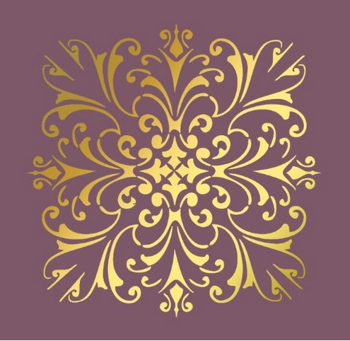 Large Wall Damask Faux Mural Design