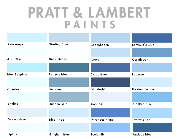 Pratt and Lambert Paint Colors Chart