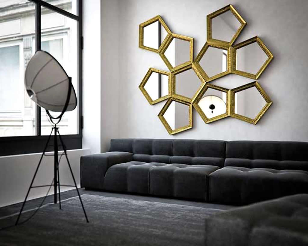 Large Wall Mirrors for Living Room Interior