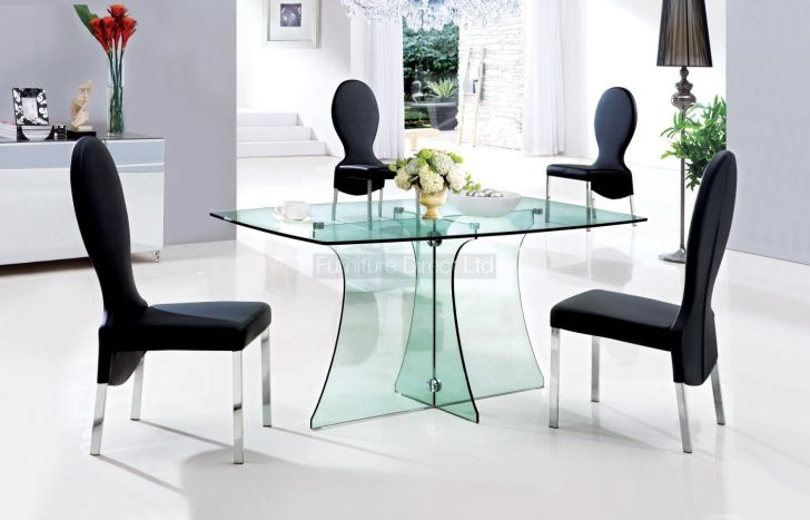 Glass Dining Table Sets Cream Chairs