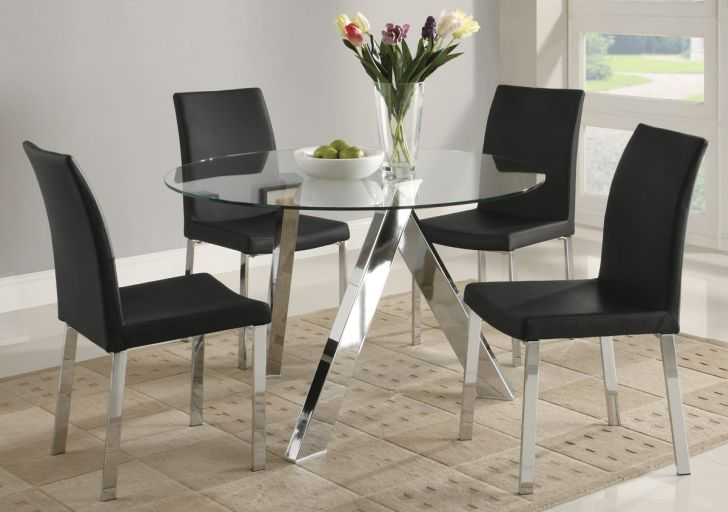 Glass Dining Table Sets With Chairs in Chrome Base