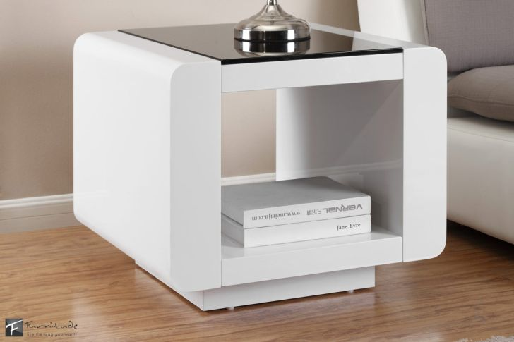 Nightstand Bedroom Bordeaux White with Black Glass Top Surface