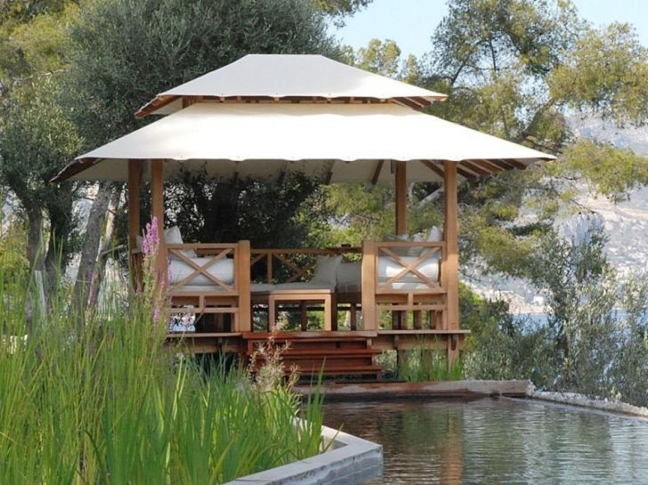 Outdoor Gazebo Design for Summer with Pool