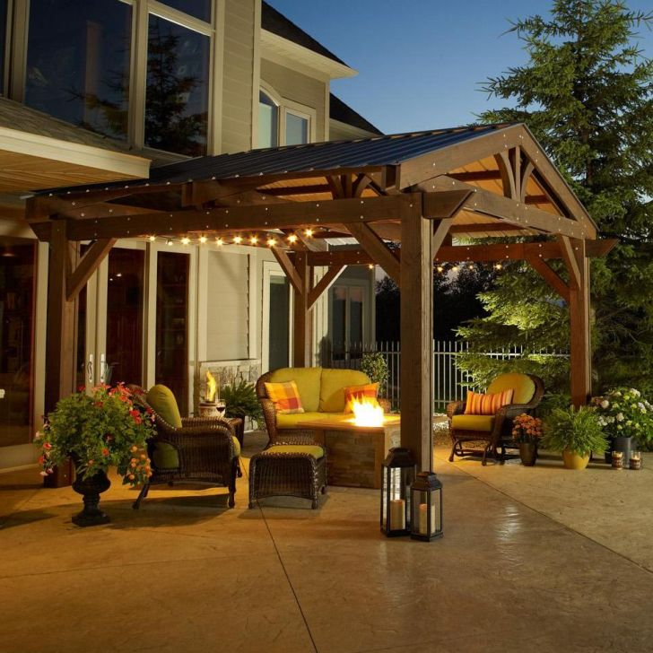 Outdoor Gazebo Design with Fireplace
