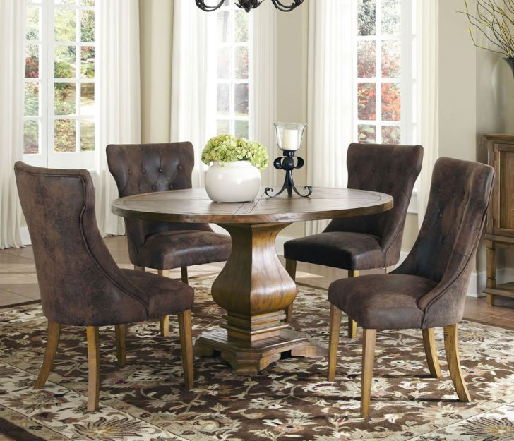 Pedestal Dining Table Set 5 Parson Tufted Side Chairs