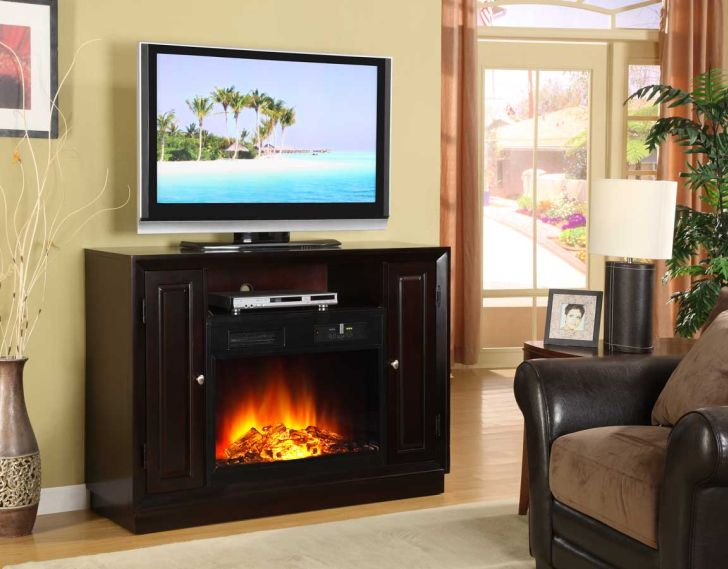 TV Stand Fireplace Black