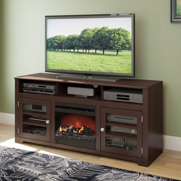 TV Stand Fireplace Espresso