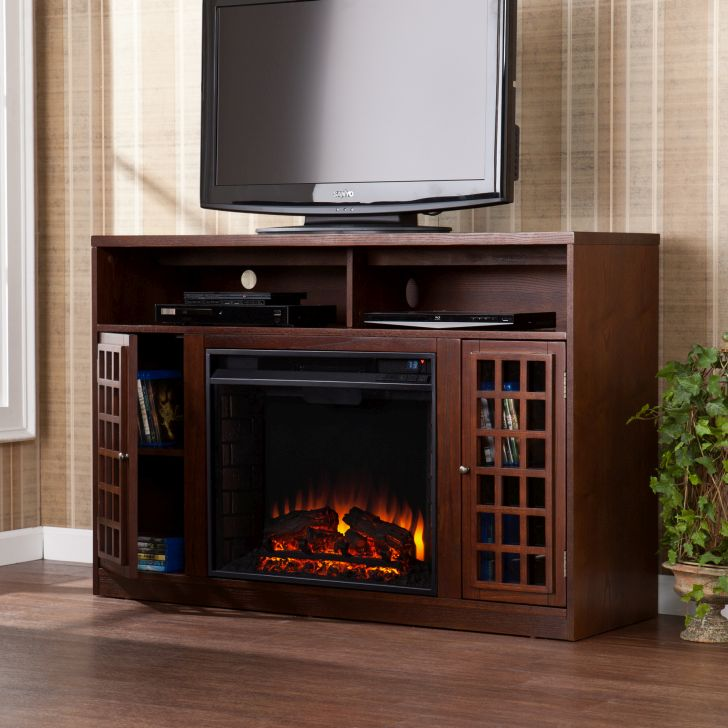TV Stand Fireplace Oak