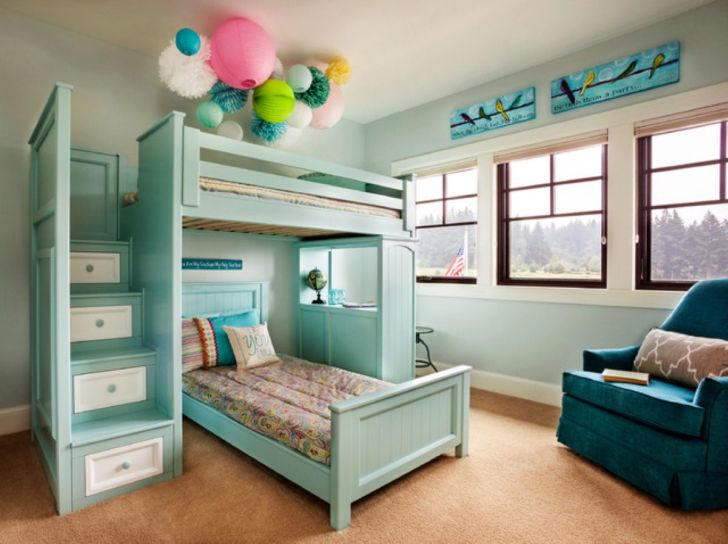 Triple bunk bed plans with small stairs storage drawer home design tips and guides - Bunkbeds with drawers ...