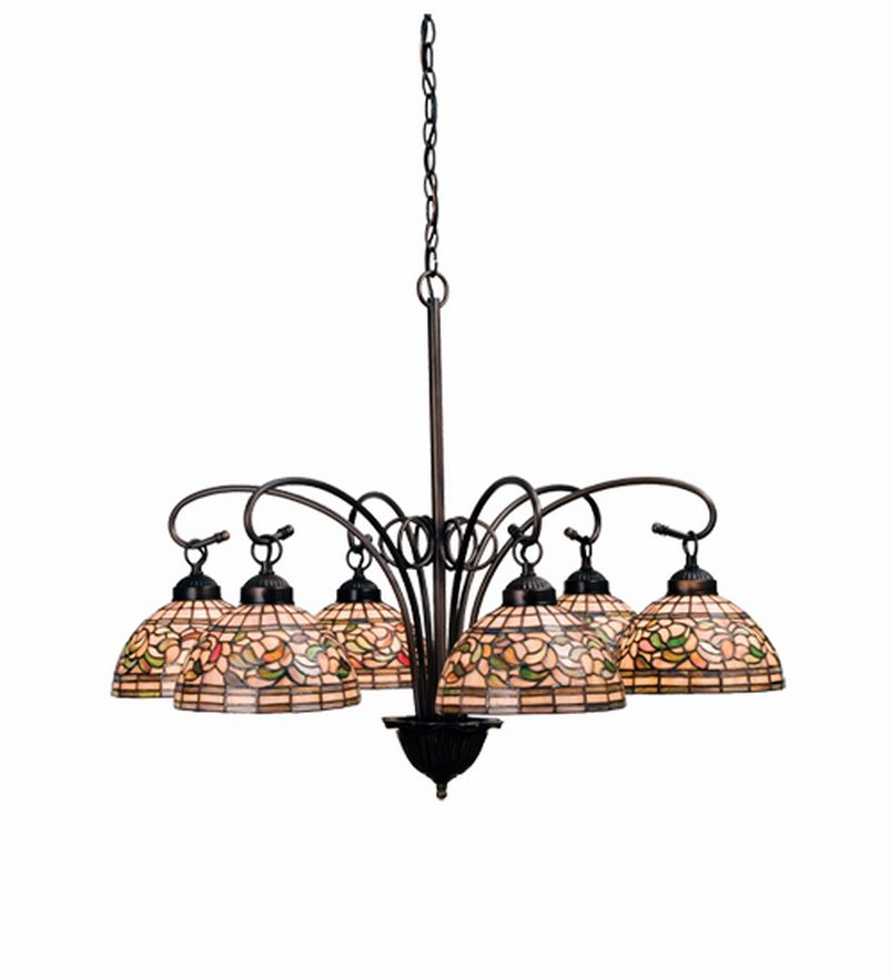Nouveau Turning Leaf 6 Lt Stained Glass Chandelier
