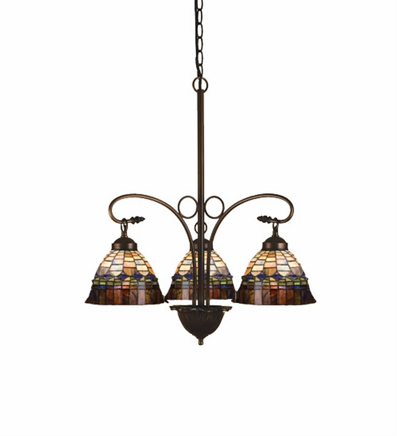 Victorian Candice 3 Lt Stained Glass Chandelier