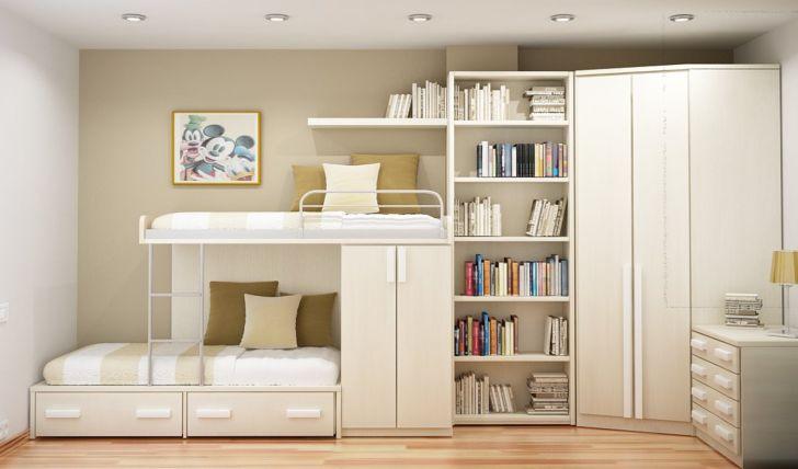 Creamy Wall Themed Bedroom Space Saving Ideas with Bookshelf