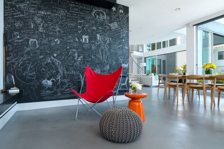 Modern Living Room with Blackboard