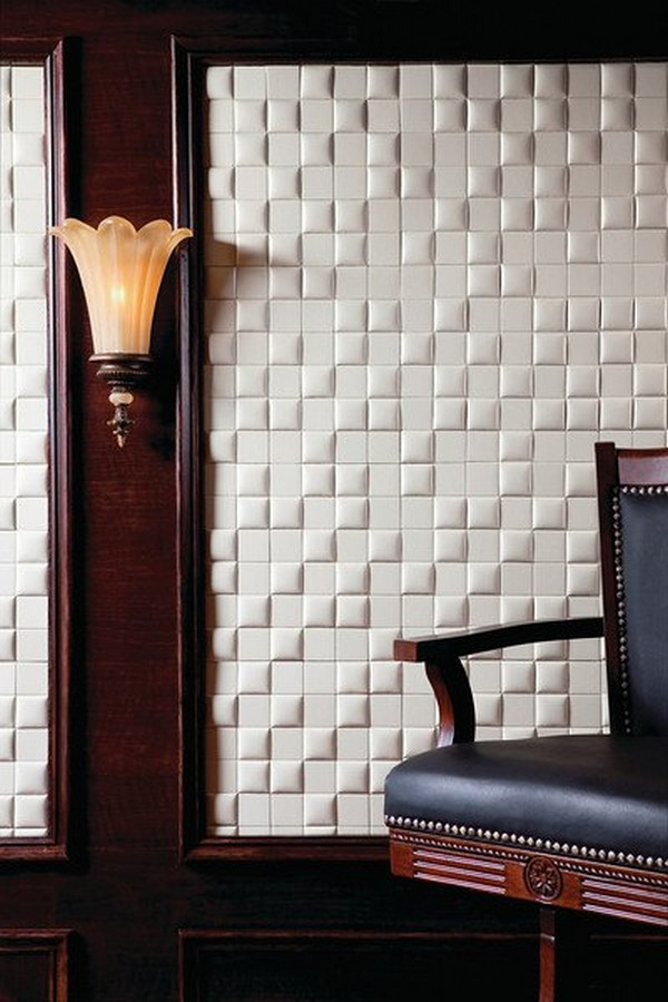 White and Clean Faux Leather Tiles