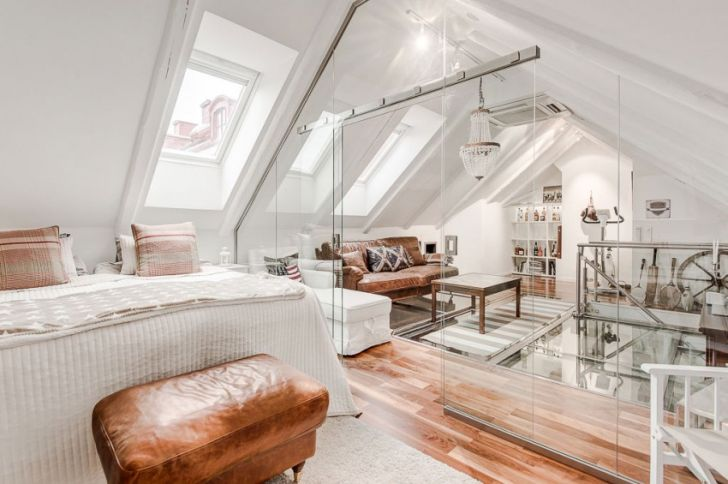 Attic Duplex With Glass Flooring in Stockholm