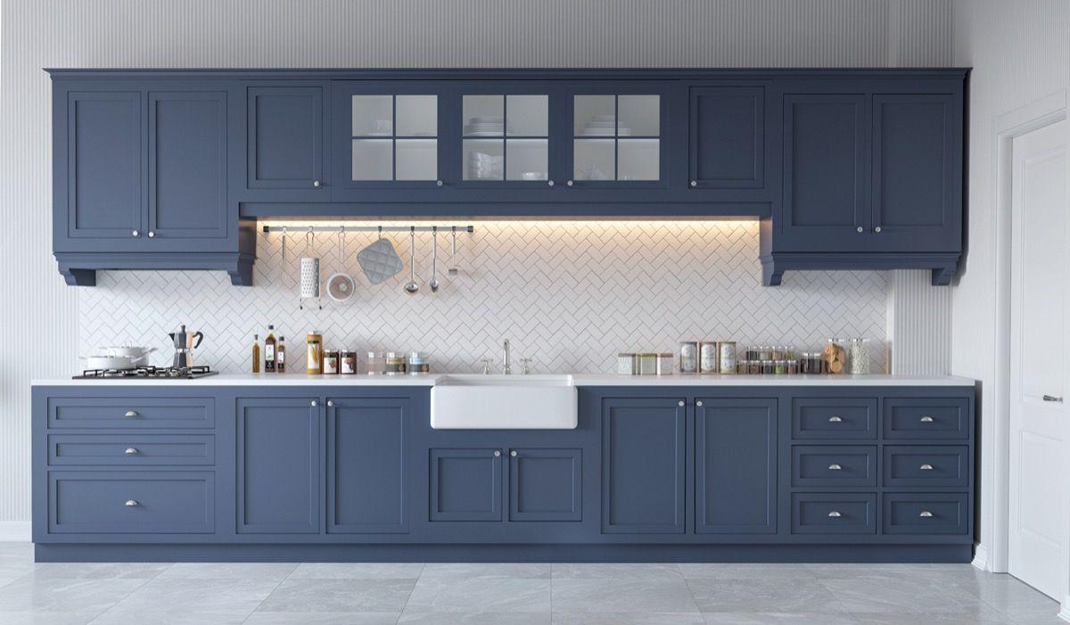 grey and white kitchenBlue Grey Kitchen White Backsplash 06
