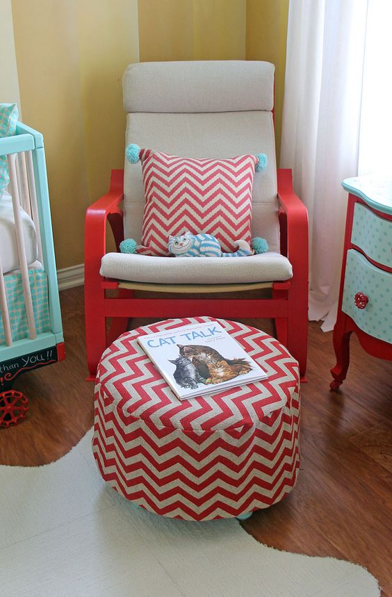DIY ikea poang chair hack using red paint