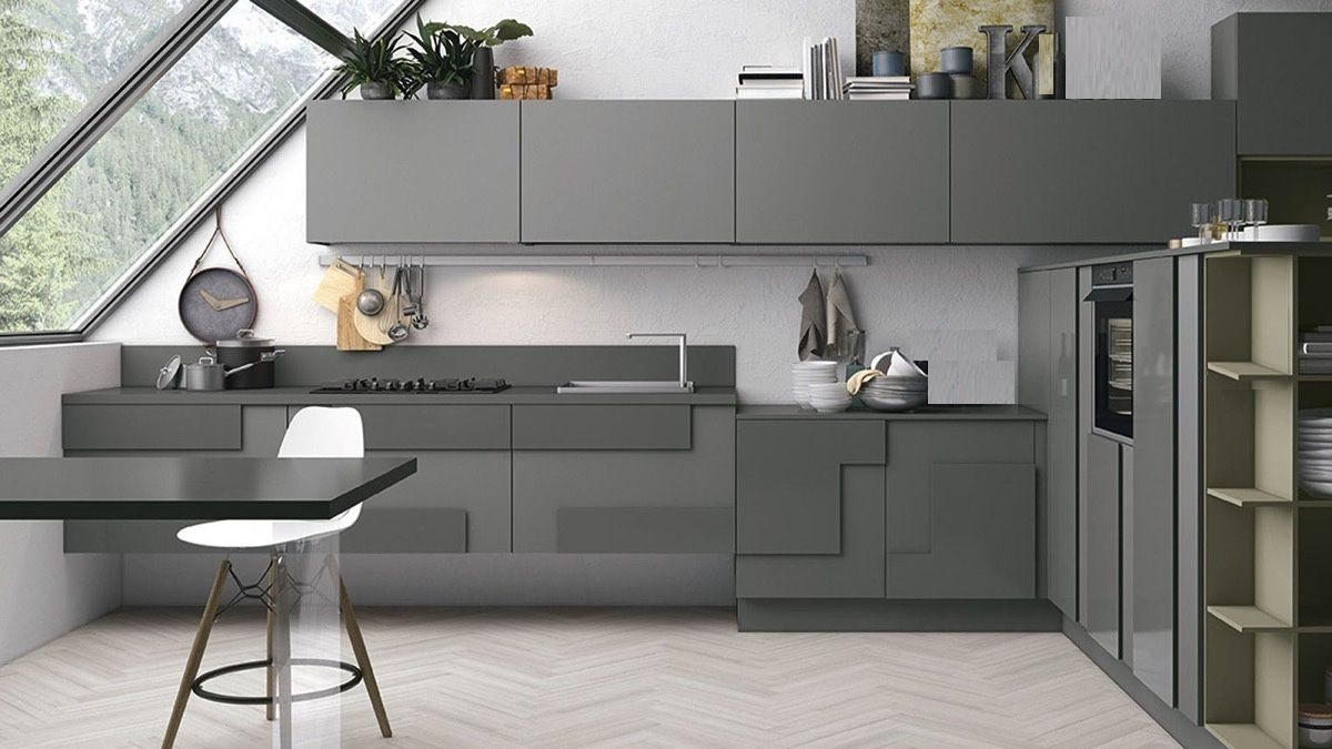 grey and white kitchen Dark Slate Grey Kitchen Contemporary with Zig-Zag Floors 17
