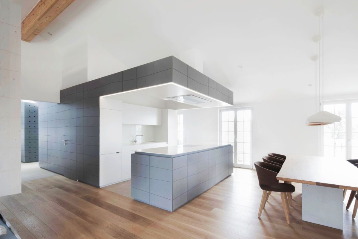 grey and white kitchen Floor to Ceiling Grey Walls cabinets Kitchen 23