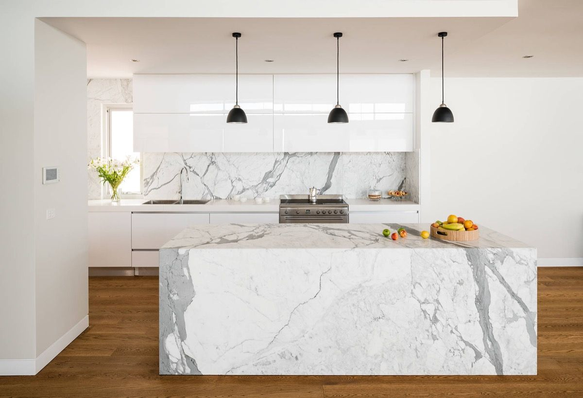 Full Marble Island Dark Wood Floors White Cabinets 28 | Home Design ...