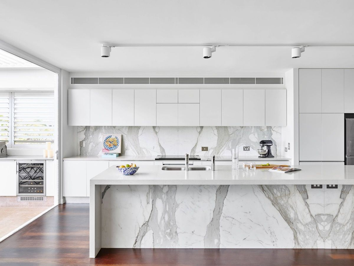 grey and white kitchen Marble and White