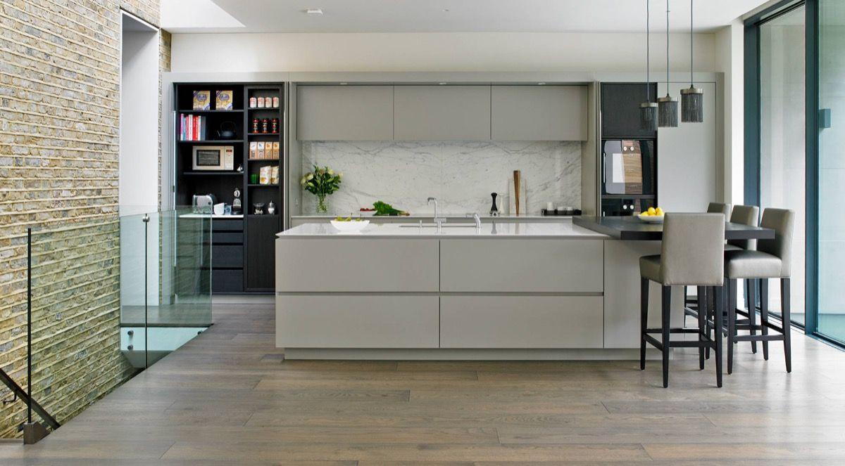 grey and white kitchen Pale Grey Cabinets Marble Backsplash 05