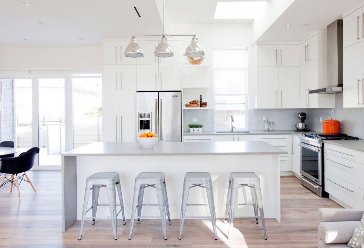 White Contemporary Kitchen Light Maple Floors Grey Countertops 10 ...