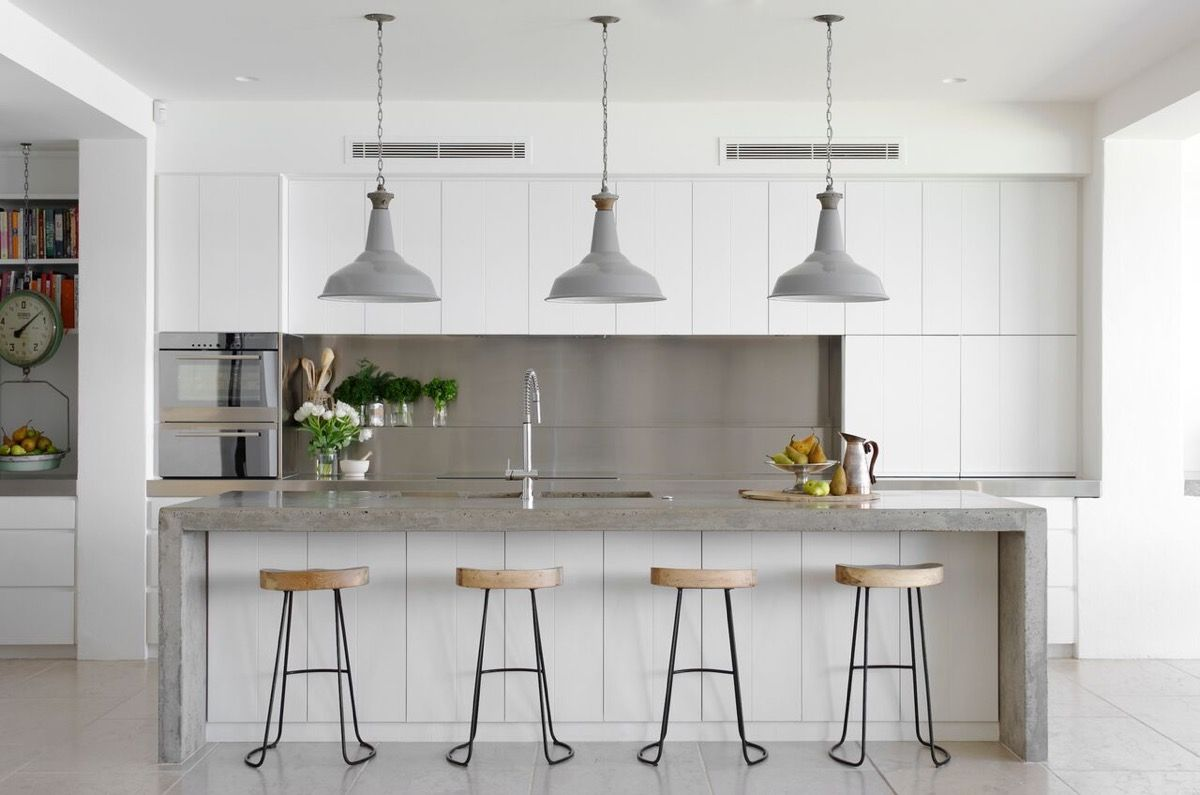 grey and white kitchen White Kitchen Cabinets Grey Marble Island Grey Tile Floors 25