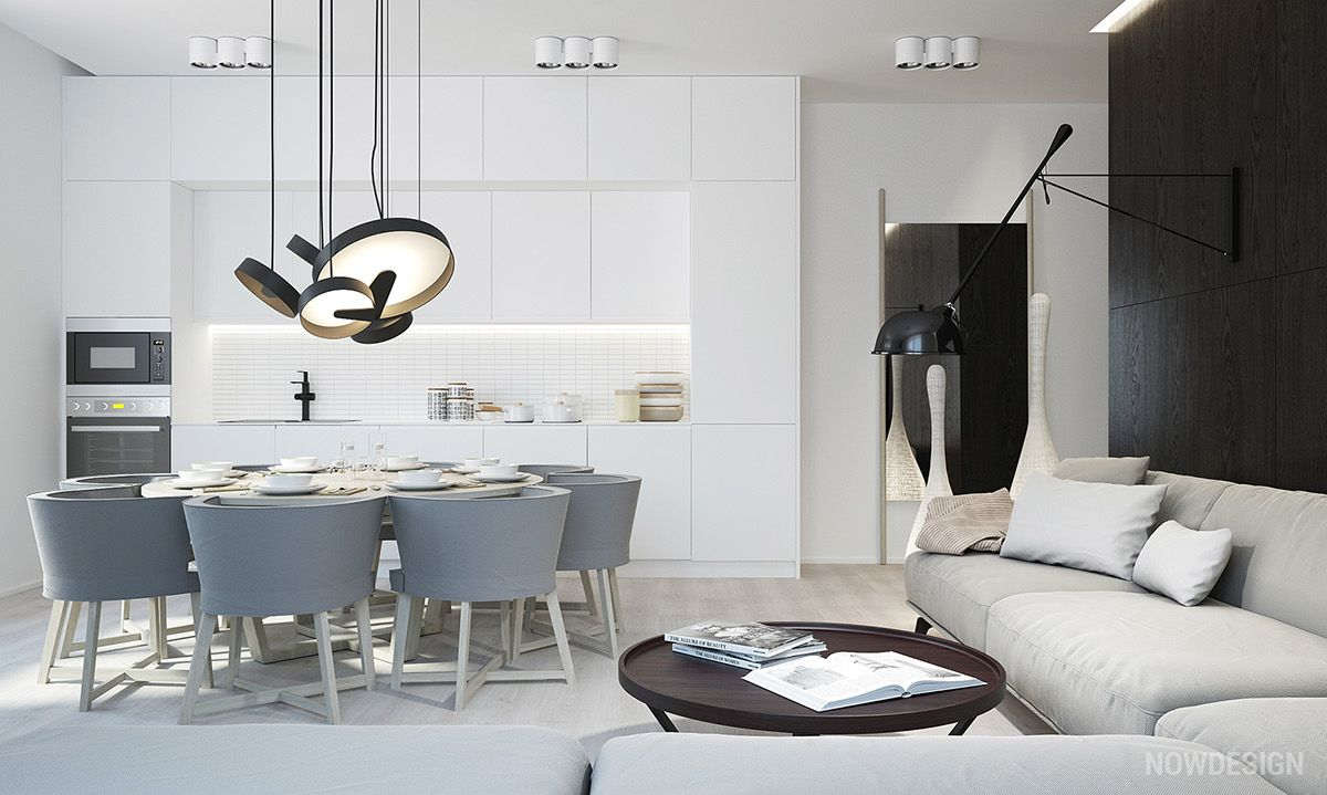 grey and white kitchenWhite Kitchen Contemporary Light Floors 02
