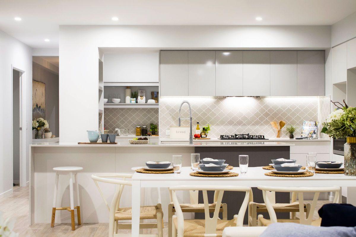 grey and white kitchen White Kitchen Grey and White Lattice Backsplash Light Pine Floors 27