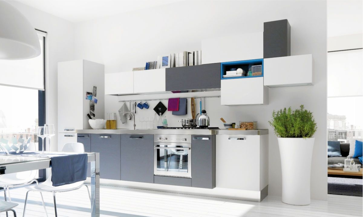grey and white kitchen White Light and Airy Kitchen Grey Touches on Cabinet Faces 22