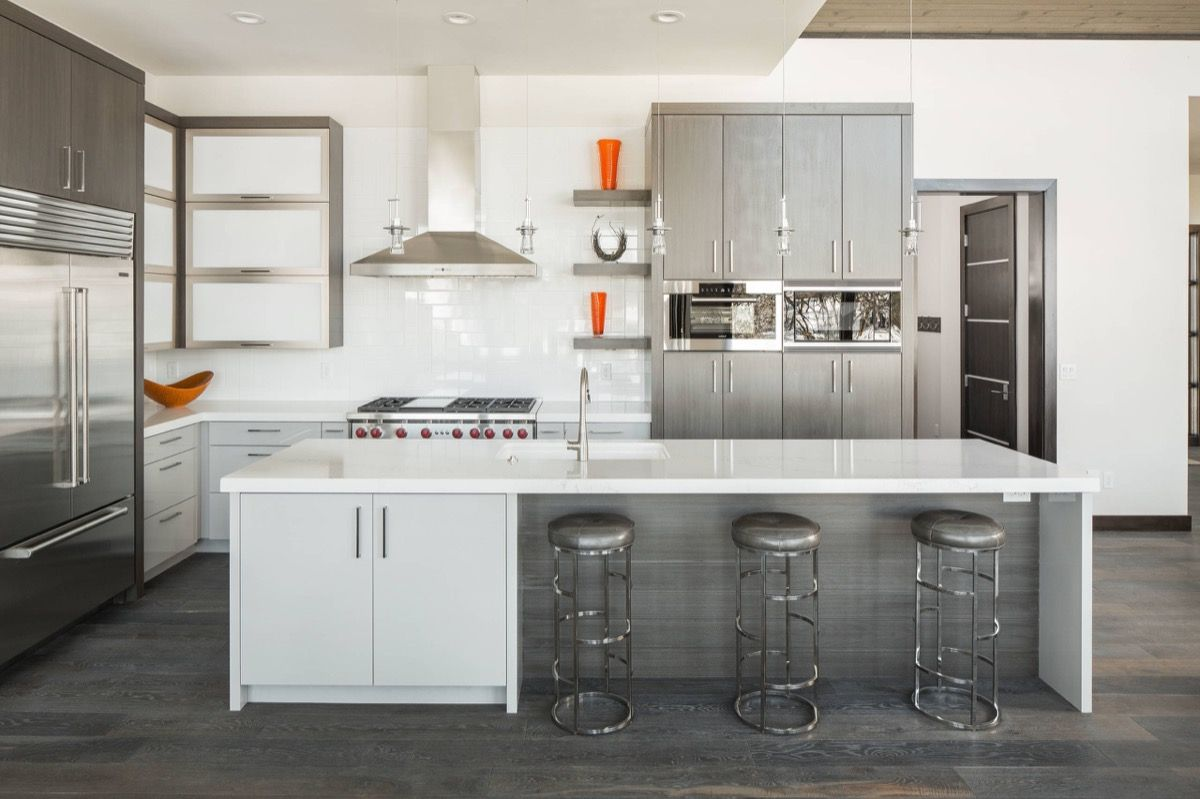 grey and white kitchen White and Steel Contemporary Kitchen Dark Grey Wood Floors 09