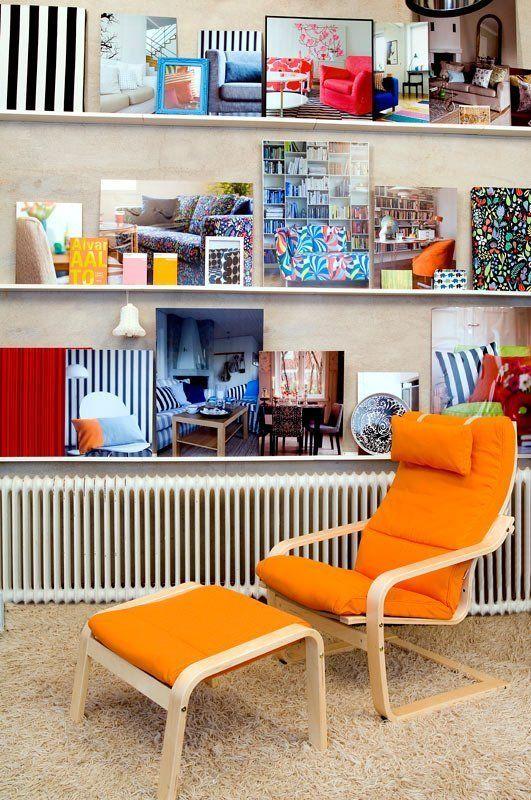 bold orange ikea poang chair cover