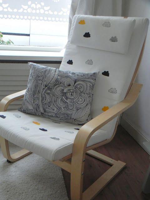 cloud printed ikea poang chair hack