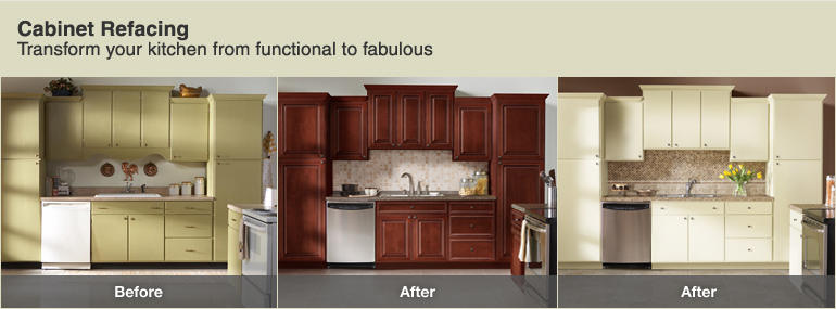 Before and after cabinet refacing home design tips and for Refinishing kitchen cabinets before and after