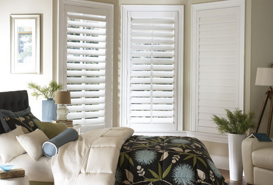 Shutters Window Treatments for Bay Windows in Living Room