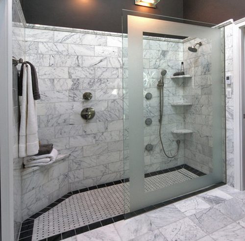 Doorless Showers Designs for Modern Bathroom with Frames