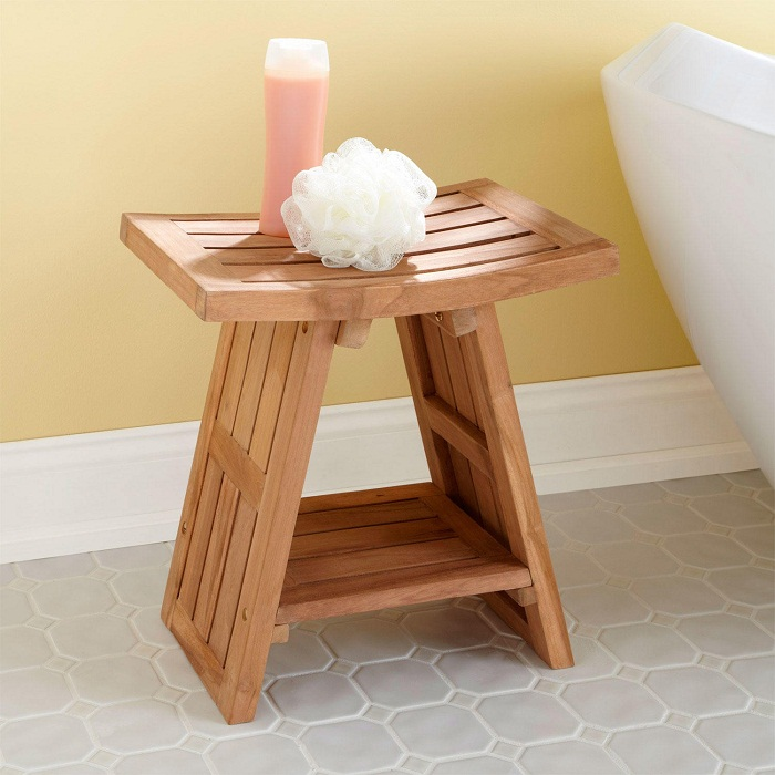 Teak Bathroom Furniture Shower Stool