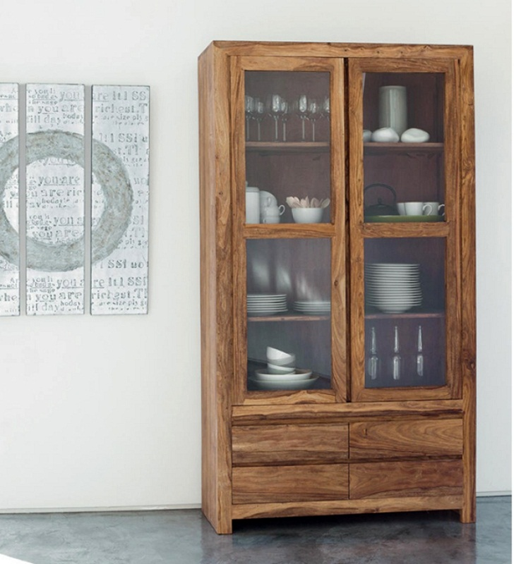 Glass Cabinet Mango Wood Crockery