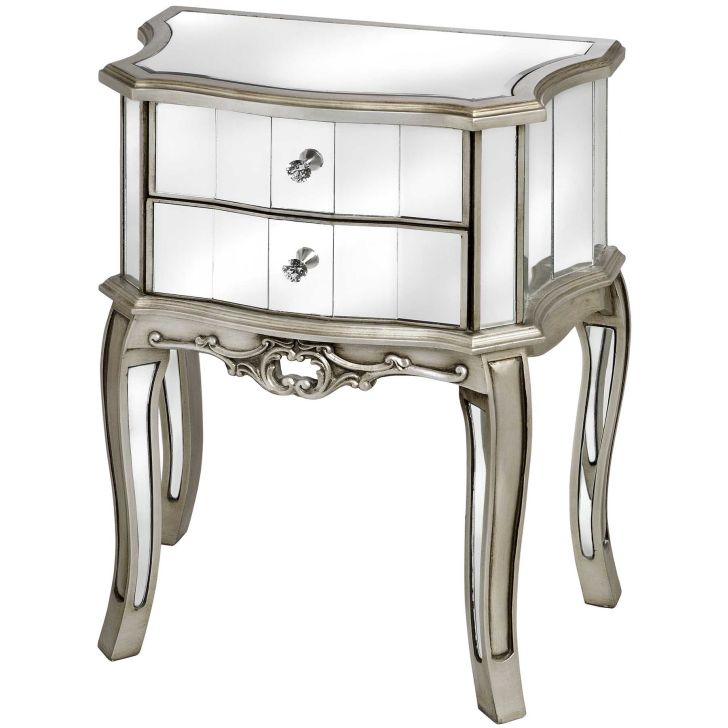 Mirrored Furniture Design Two Drawers Bedside Table