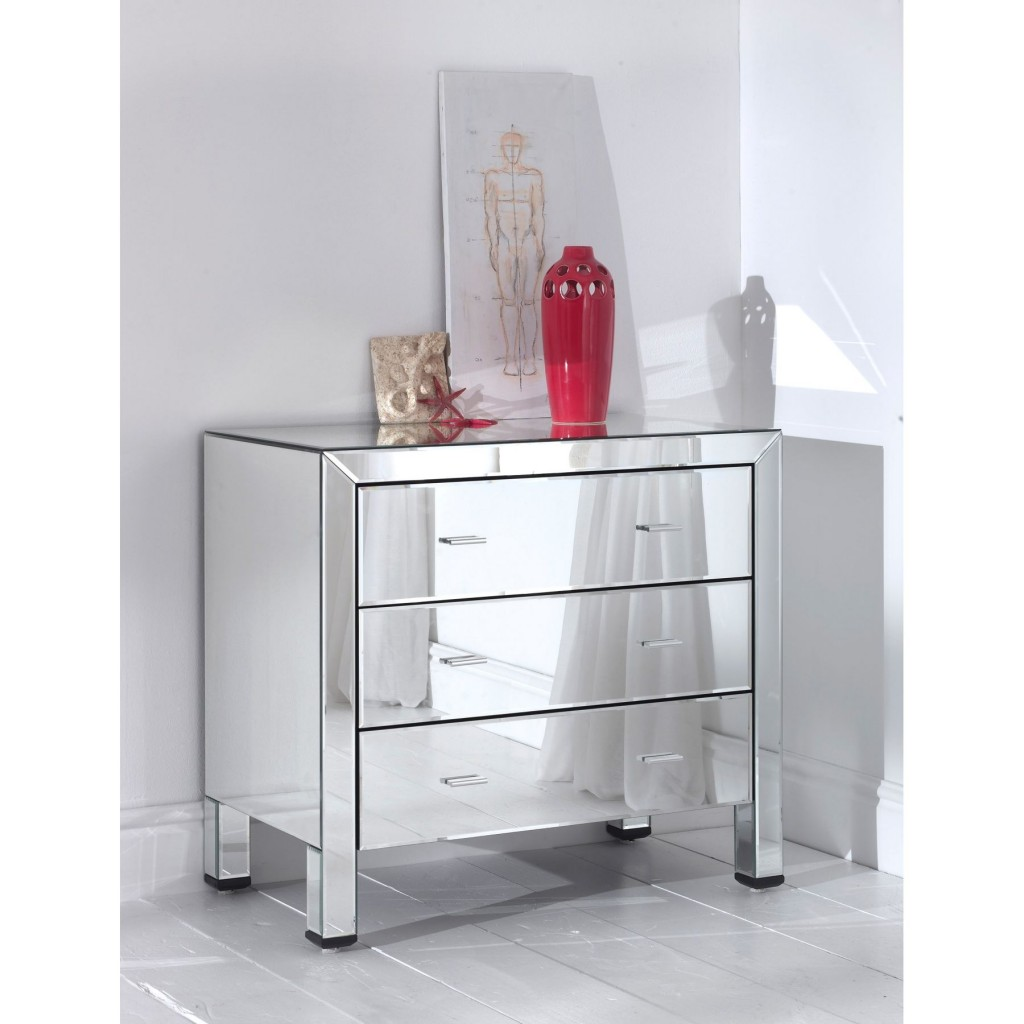 Mirrored Furniture Design Beside Table with 3 Storage