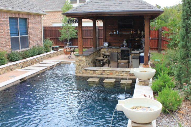 Outdoor Gazebo Design with Swimming Pool and Water Fountain