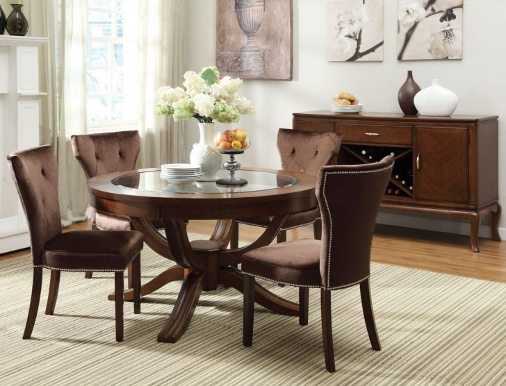 Pedestal Dining Table Set 5 Pc Glass Top Round