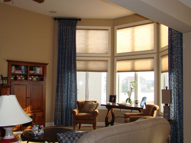 Window Treatments For Tall Windows with Floral Blue Curtain