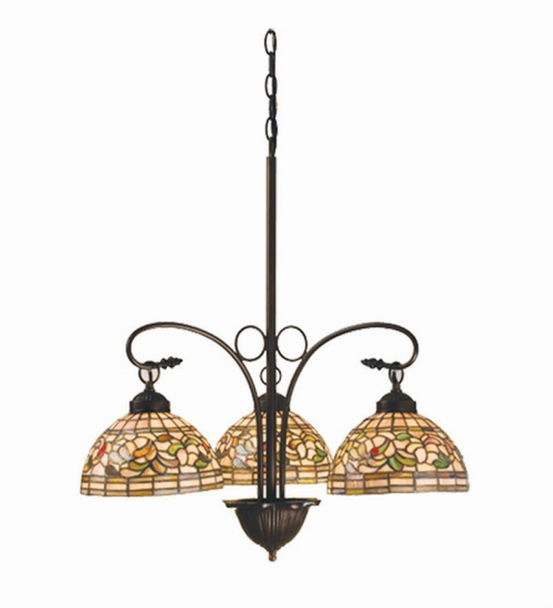 NouveauTurning Leaf 3 Lt Stained Glass Chandelier