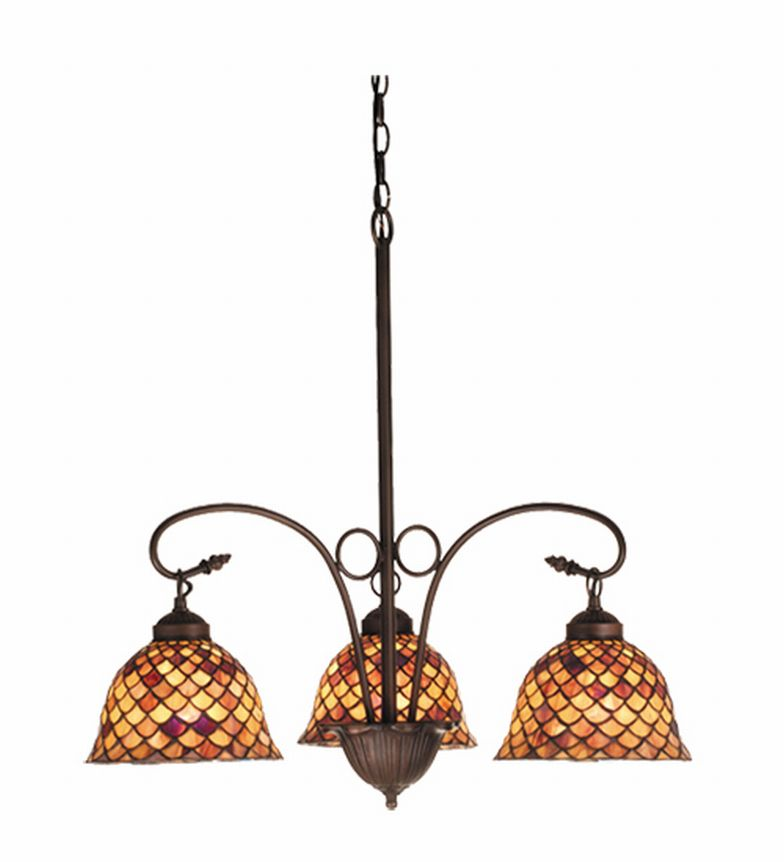 Victorian Fishscale 3 Lt Stained Glass Chandelier